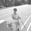 Kerry uses walking poles for Cerebral Palsy