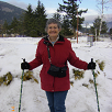 Wendy uses walking poles for Multiple Sclerosis