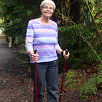 Peg uses walking poles for Arthritis
