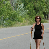 Jan uses walking poles for Knee Pain