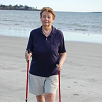 Judy uses walking poles for Knee Pain